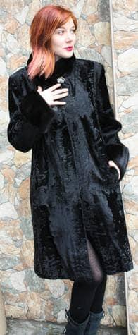 Black Swakara Stroller with Black Mink Trim 66109 Image