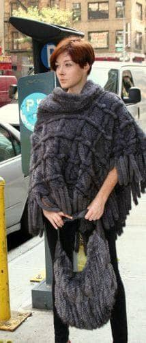 Blue Iris Knit Mink Fur Poncho Pocketbook