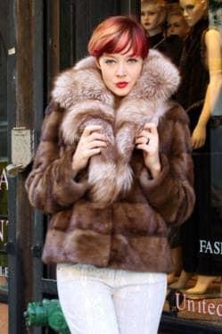 Brown Mink Jacket Crystal Fox Fur Collar 99887 Image