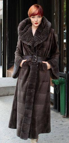 thumb_Brown Sheared Mink Fur Coat with Leather Belt 4 | MARC ...