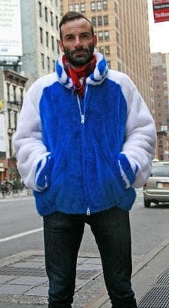 Blue White Mens Mink Varsity Jacket