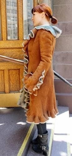 Cognac Ruffles Shearling Fur coat Marc Kaufman Furs NYC Store