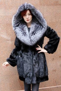 Black Mink Stroller Silver Fox Fur Hood 88123 Image