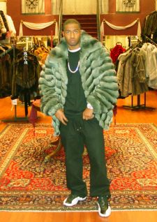 Money Green Chinchilla Mens Bomber Fur Jacket 9888