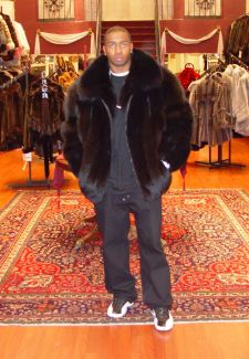 9f338c5c77 Men's Black Fox Fur Bomber Jacket 5544 | MARC KAUFMAN FURS