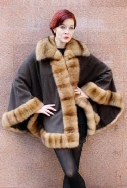 Loro Piana Dark Brown Cashmere Cape Russian Sable Fur Trim