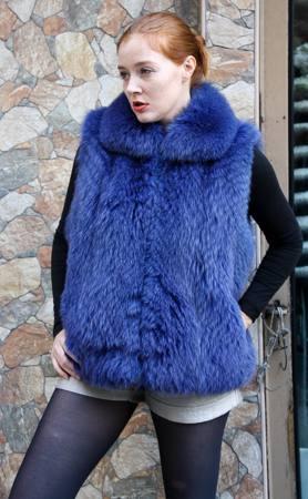 Dyed Blue Fox Fur Vest 66775 Image