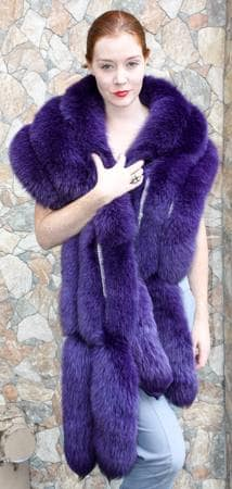 Elegant Purple Fox Fur Stole Rhinestones Fox Tails