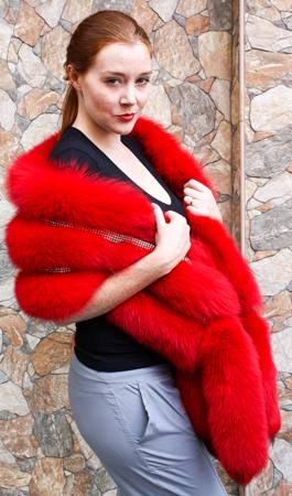 Dyed Red Fox Fur Stole Crystals 81001