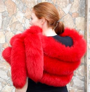 Dyed Red Fox Fur Stole Crystals