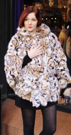 American Cat Lynx Fur Poncho Hood 00553 Image