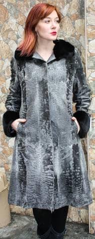 Grey Swakara Stroller with Black Mink Trim 00667 Image