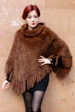 Cognac Brown Mink Knitted Poncho Tails 66787 Image