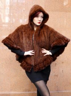 Cognac Mahogany Knitted Mink Fur Poncho 323 Image