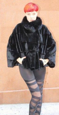 Blackglama Mink Cape Sheared Mink Trim 88999 Image