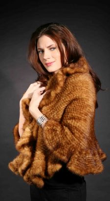 Whiskey Knit Mink Fur Capelet