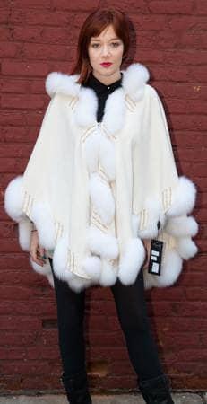 Ivory Cashmere Cape Matching Ivory Fox Border Trim Marc Kaufman Fur Store Furs NYC