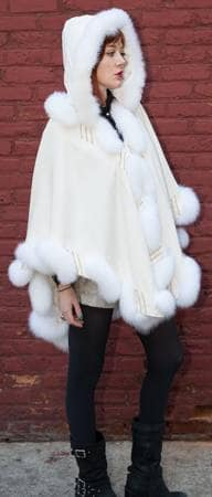 Ivory Cashmere Cape Matching Fox Border Trim Marc Kaufman Fur Store Furs NYC
