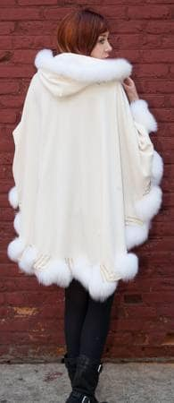 Ivory Cashmere Cape Matching Fox Border Trim