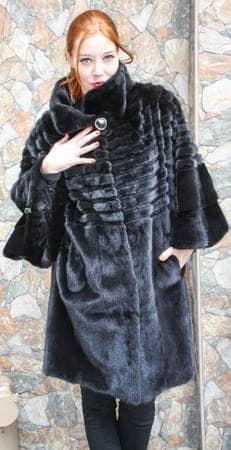 Long Black Mink Fur Cape Sheared Mink Fur Inserts
