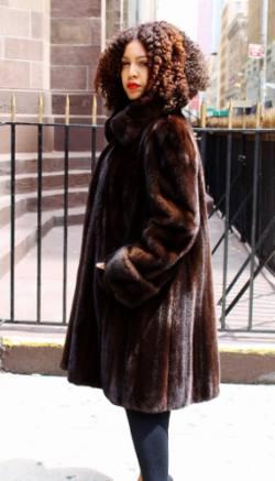 Plus Size Mahogany Mink Directional Fur Coat 7221MARC KAUFMAN FURS ...