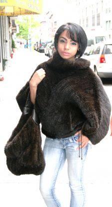 Mahogany Knit Mink Fur Sweater Knit Mink Pocketbook
