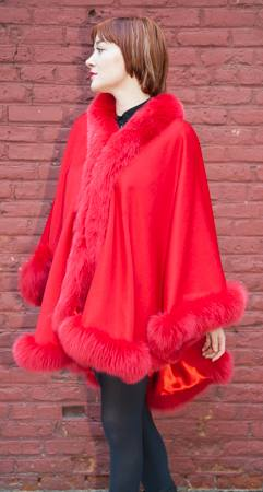 Fabulous Red Cashmere Cape Dyed Red Fox Border Marc Kaufman Furs NYC