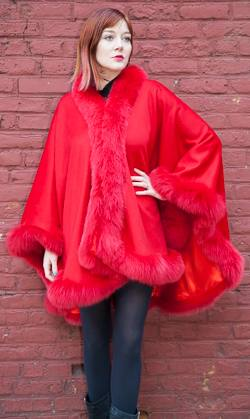 Fabulous Red Cashmere Cape Dyed Red Fox Border Marc Kaufman Furs NYC Fur Store