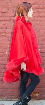 Elegant Red Cashmere Cape Dyed Red Fox Border Marc Kaufman Furs NYC Best Fur Store