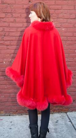 Elegant Red Cashmere Cape Dyed Red Fox Border Marc Kaufman Furs NYC Best Fur Store Boston Chicago Washington DC