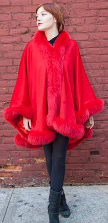 Red Cashmere Cape Dyed Red Fox Border 2211
