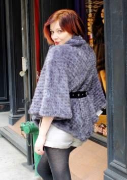 Sapphire Knit Mink Fur Cape Belt Buttons