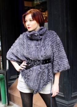 Sapphire Knit Mink Fur Cape Belt Buttons marc Kaufman Furs Best Nyc Fur Store