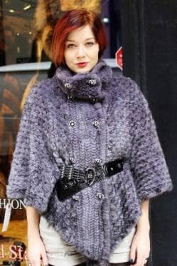 Sapphire Knit Mink Fur Cape Belt Buttons marc Kaufman Furs