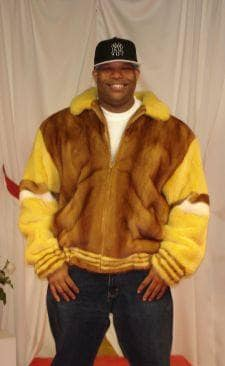 Mens Whiskey Mink Fur Bomber Jacket Yellow White Mink Fur Trim ...