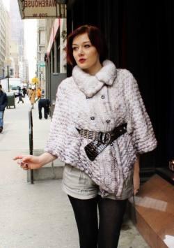 Classy White Knit Mink Fur Cape Belt Buttons