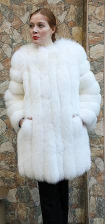 White Fox Fur Stroller Diagonal Fur Sleeves