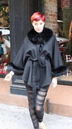 Black Cashmere Cape Fox Collar Cuffs Fur Store NYC Marc Kaufman Furs