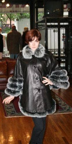 Black Leather Swing Stroller Fox Fur Collar Trim