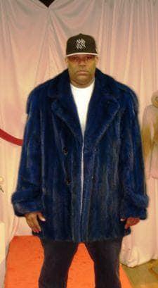 Blue Mans Mink Fur Stroller Notch Collar