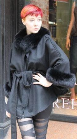 Black Cashmere Cape Fox Collar Cuffs