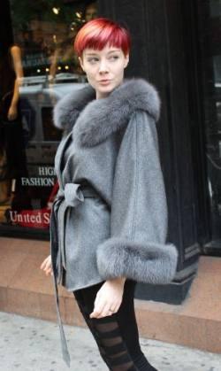 Elegant Gray Cashmere Cape Fox Collar Cuffs Marc Kaufman Furs NYC Fur Market