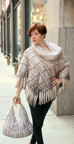 Ivory Knit Mink Fur Poncho 8811
