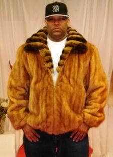 Whiskey Mink Bomber Fur Jacket Chinchilla Fur Collar