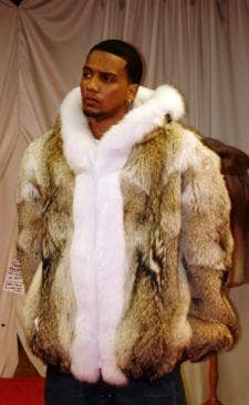 Men's Coyote Fur Jacket White Fox Trim Hood 7778 | MARC KAUFMAN FURS