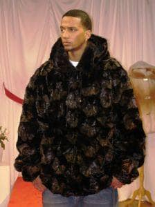 Black Mink Diamond Cut Fur Bomber Jacket