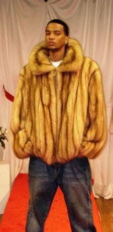 Mans Golden Sable Bomber Fur Jacket