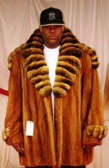 Mans Whiskey Mink Fur Stroller Chinchilla Collar Tabs