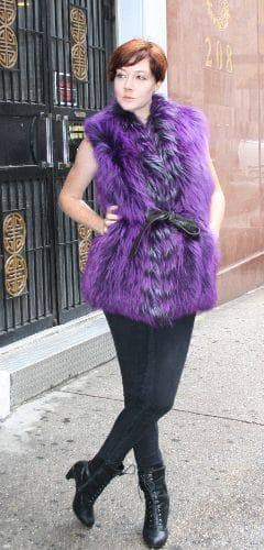 Purple Fox Fur Vest