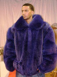 Purple Mens Fur Bomber Fox Jacket